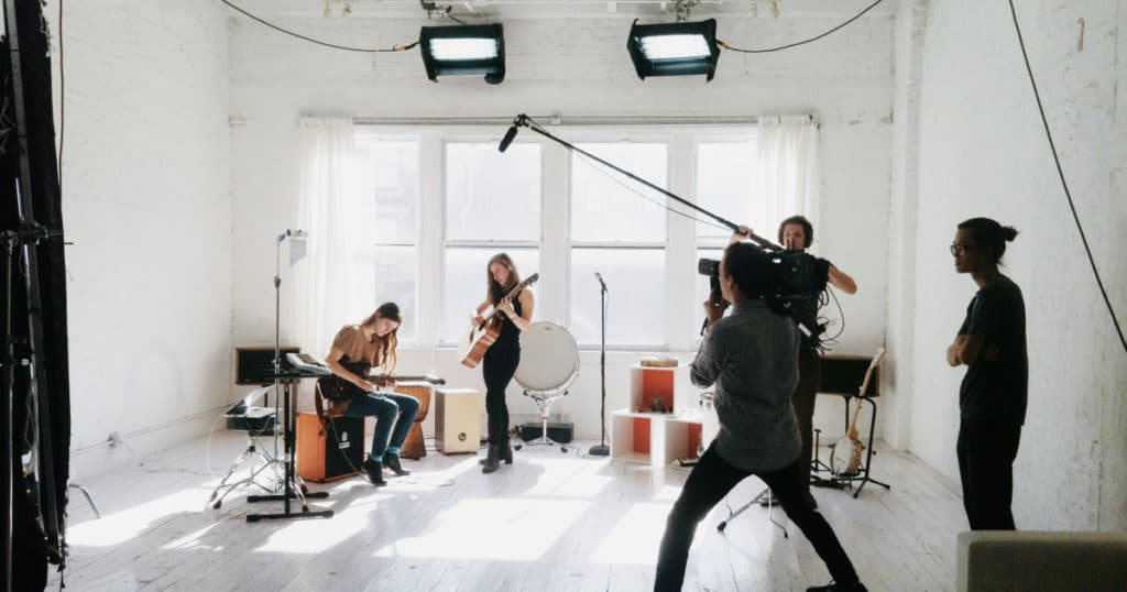 A small crew of filmmakers in a Peerspace location