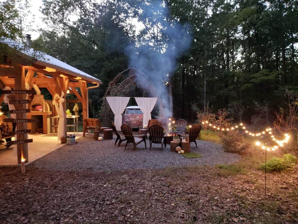Outdoor Forest Farm and Rustic Pavilion charlotte rental