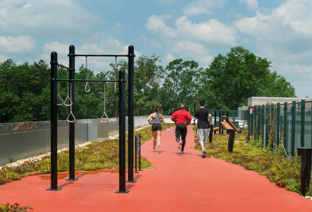 Rooftop running track and outdoor gym washington dc rental