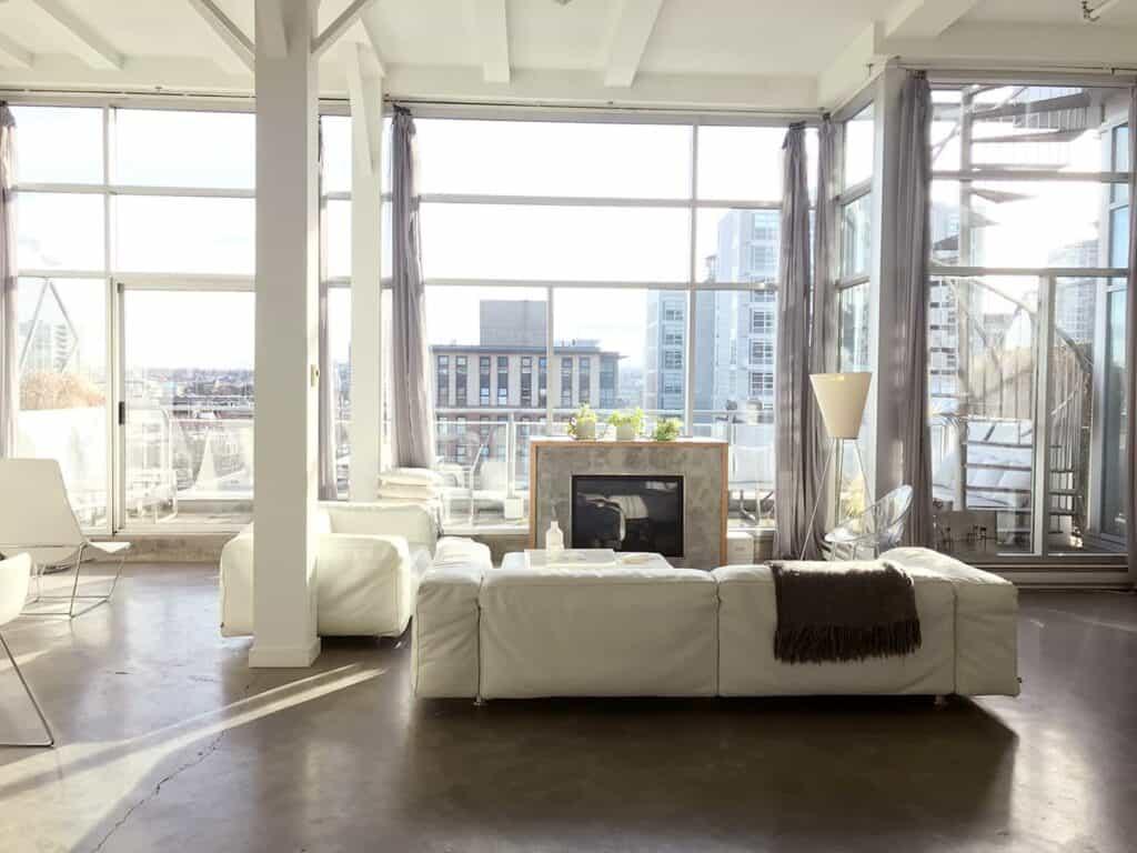 Vancouver White Loft with Elegant yet Raw Style rental