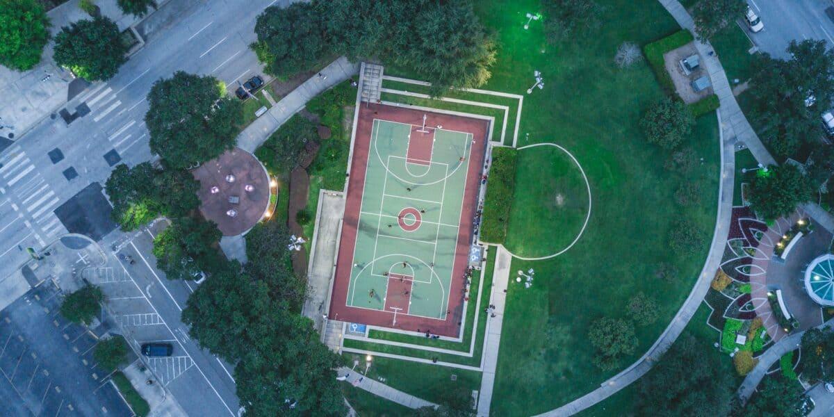 houston park drone shot