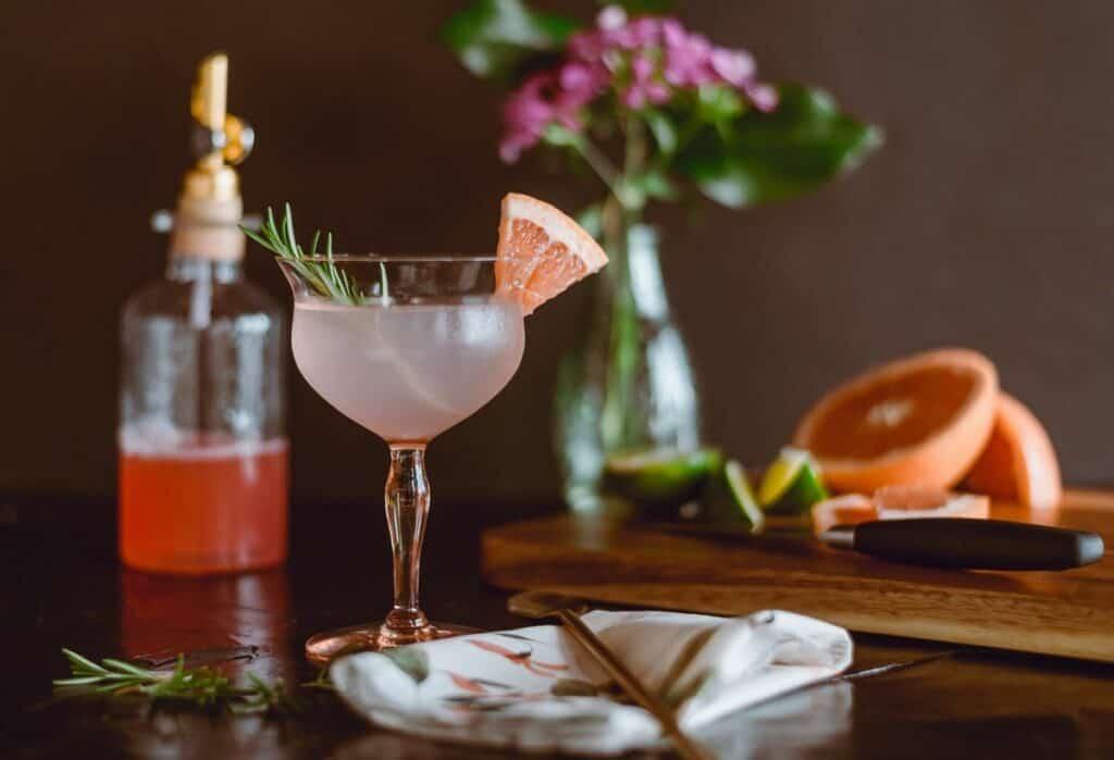 an elegant cocktail or mocktail