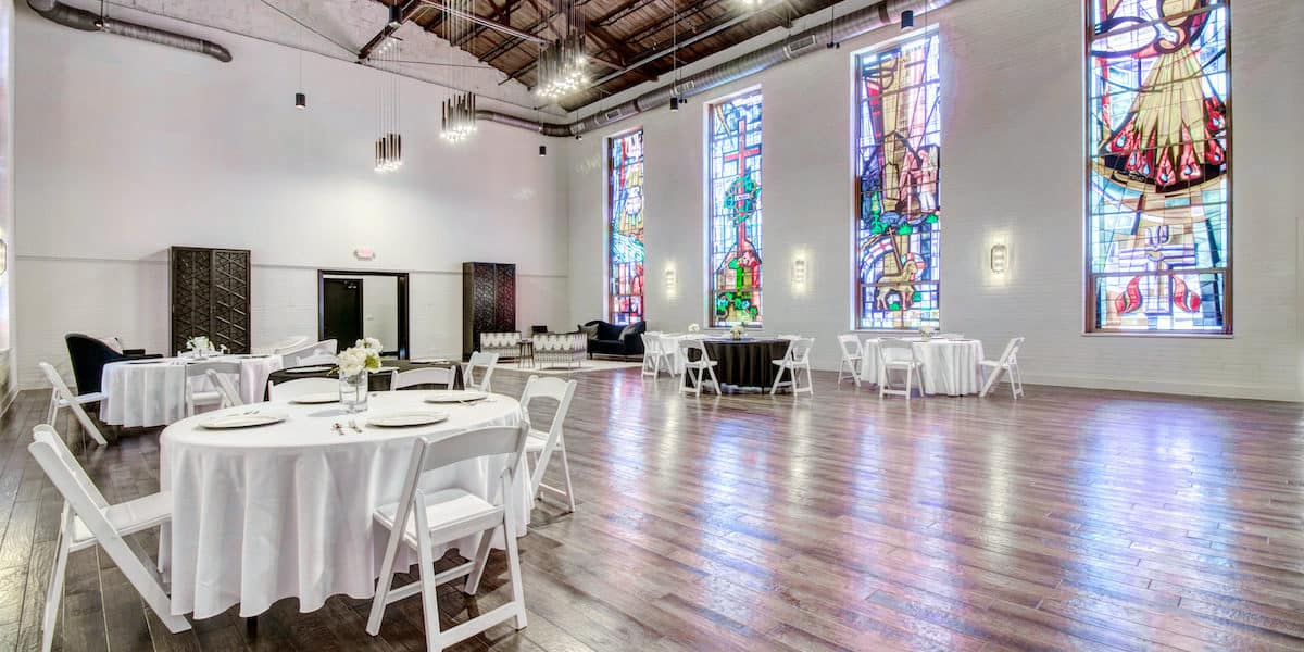 Community Center rental in Dallas with stained glass windows, wooden floors and high ceilings.