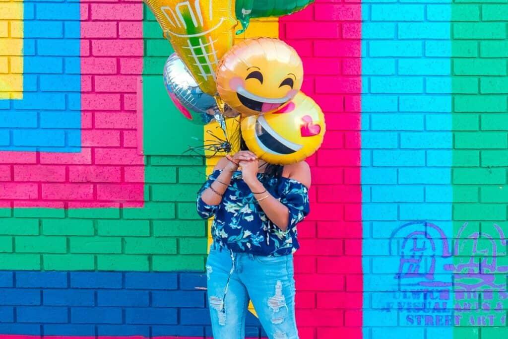 emoji ballons colorful background