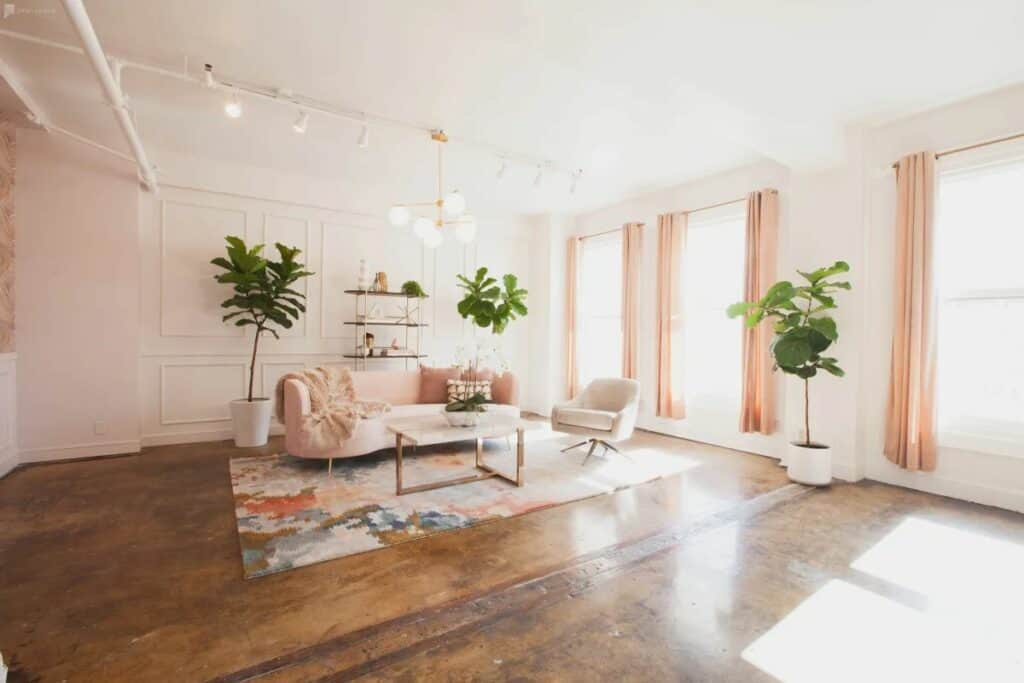 sunny pink loft with modern touches