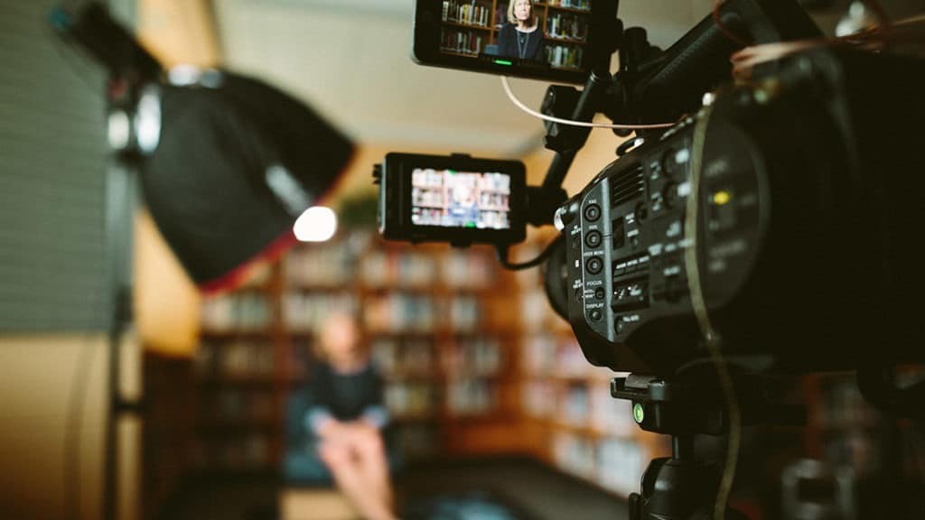 documentary film production with interview lighting