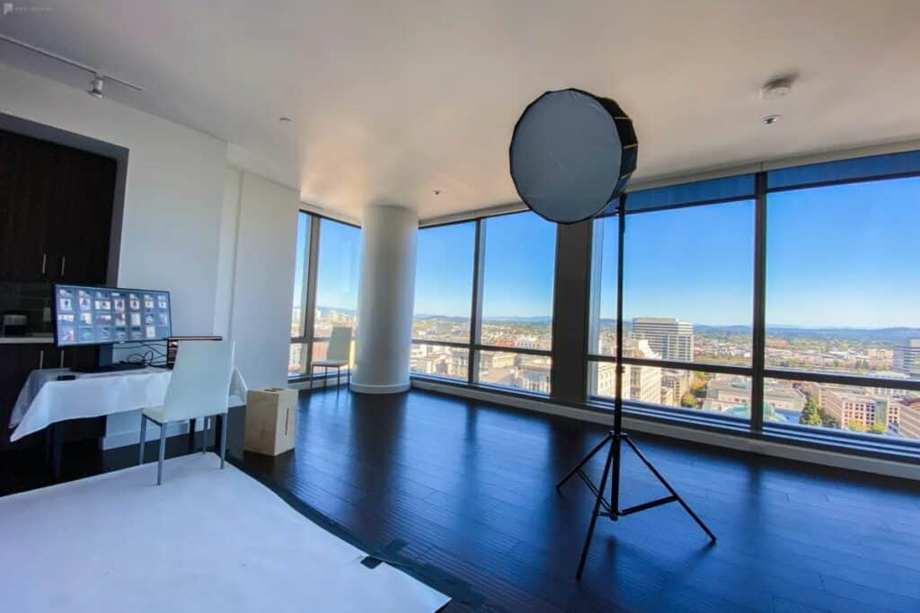 studio with stunning downtown views