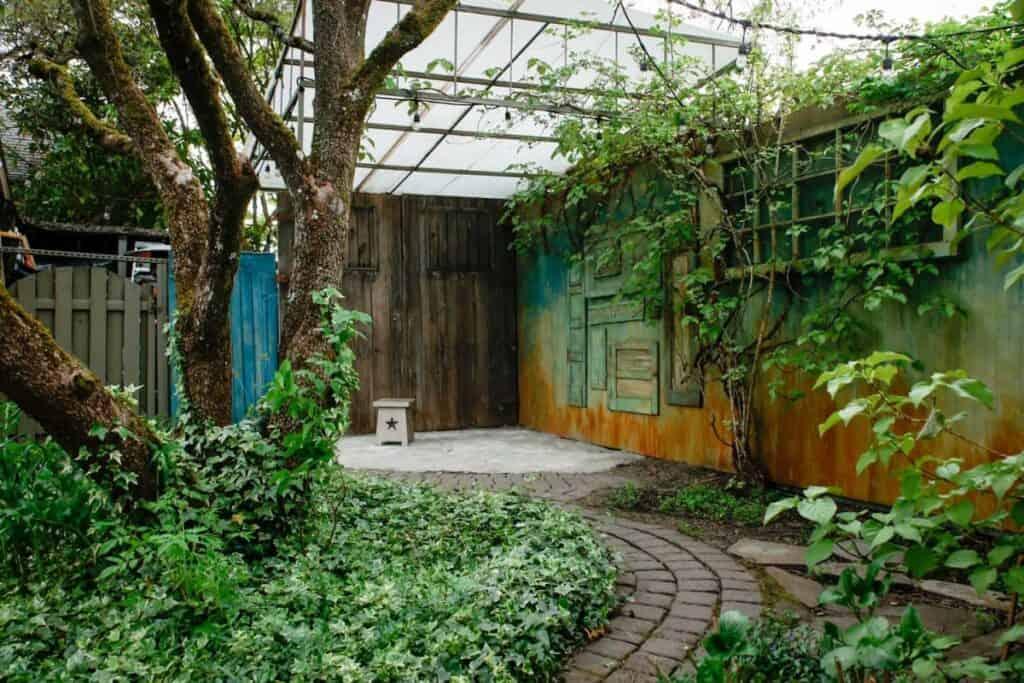 an outdoor oasis studio