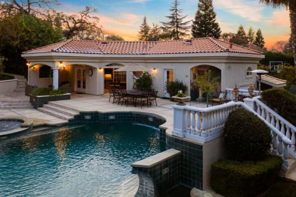 mansion with pool house