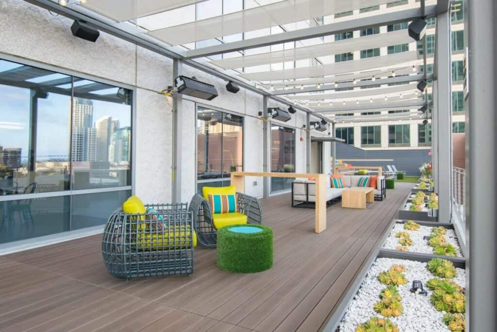 downtown rooftop venue with game room