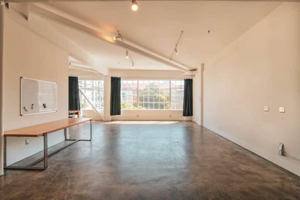 minimalist sunny studio