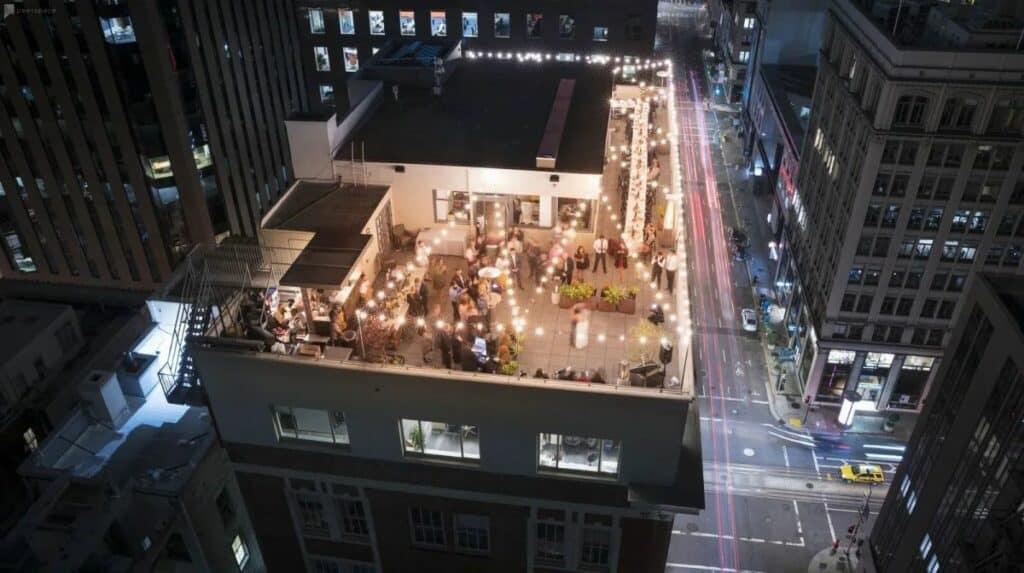 indoor outdoor event space with rooftop