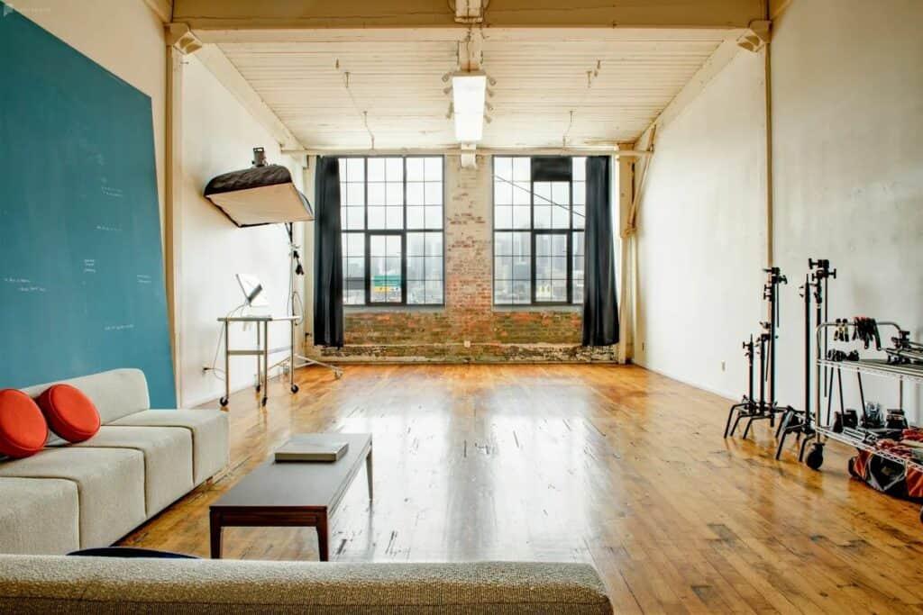 crisp, modern industrial studio