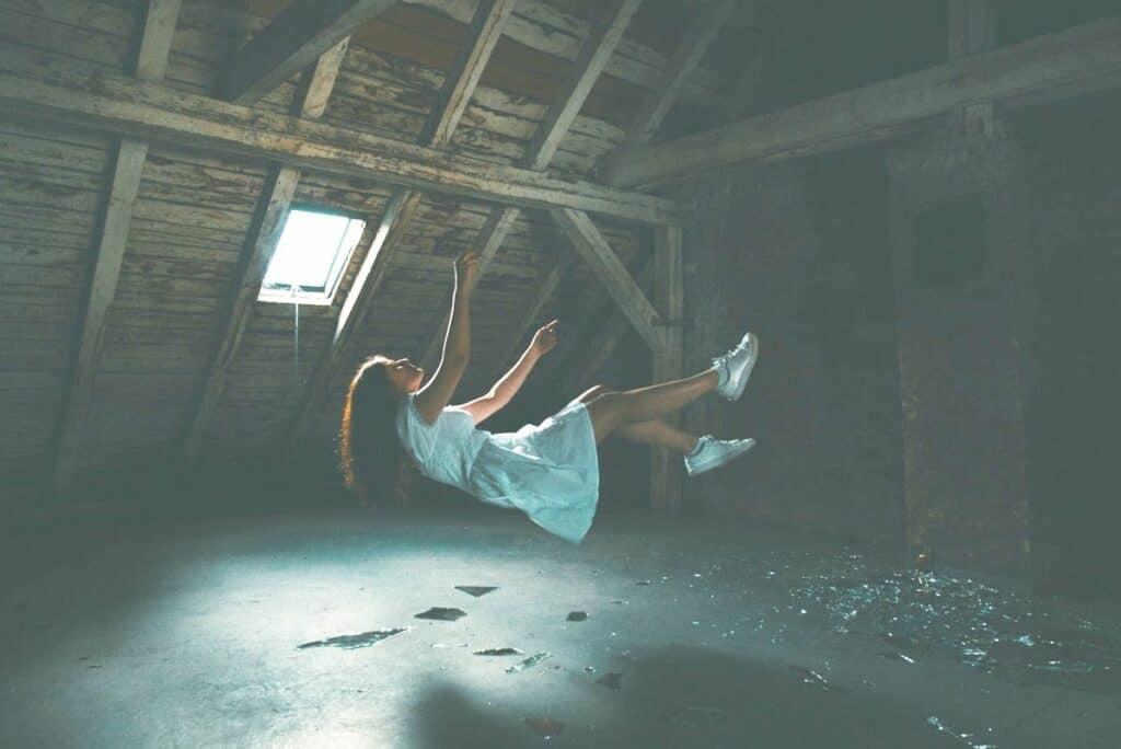 surrealistic photograph woman falling