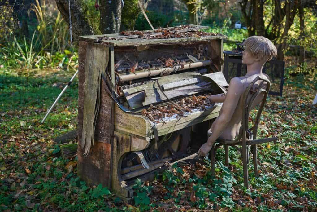 surreal piano player image