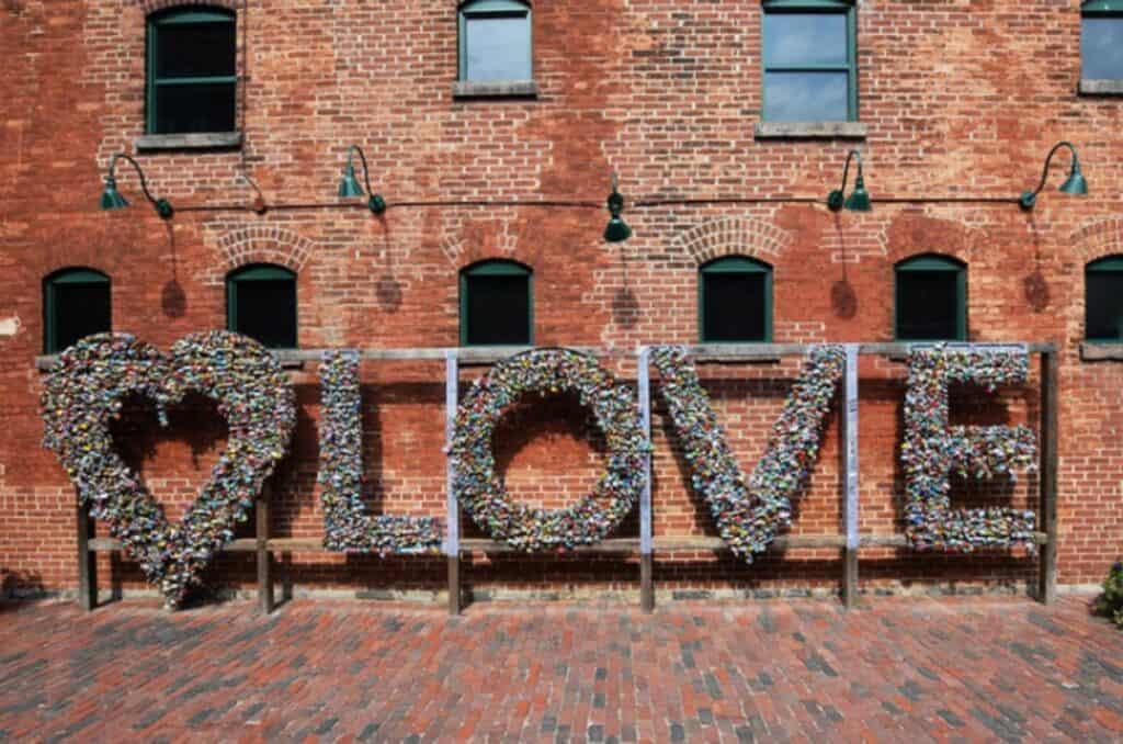 love installation at toronto distillery