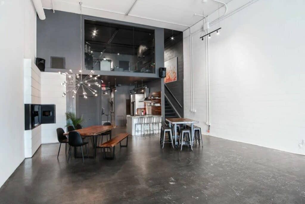black and white multilevel loft