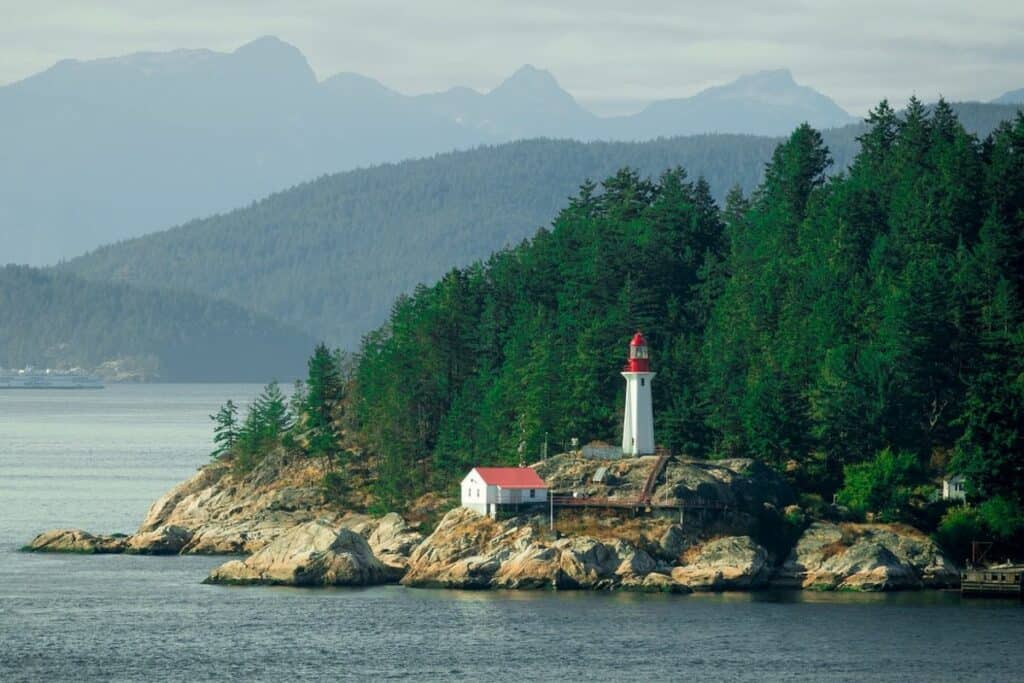 lighthouse overlooking Vancouver's north shore